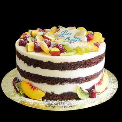 Голый торт с фруктами